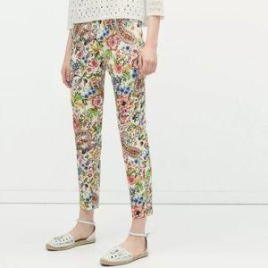 Zara Woman FloraL Ankle Flat Front skinny Pants L